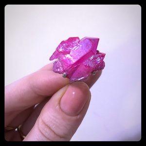 Natural Crystal Pink Titanium Treated 925 Silver 7